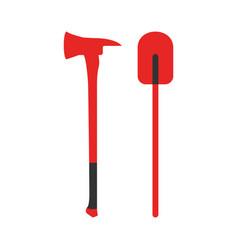 Axe and shovel icon fire departament equipment vector
