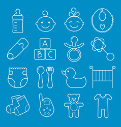 Baby icons set isolated on blue background vector