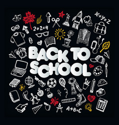 back to school chalkboard doodle set freehand vector image