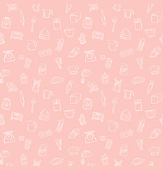 Baking tools seamless pattern background set vector