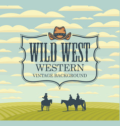 banner with western landscape and cowboys on vector image