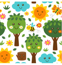 basic rgbseamless pattern with forest kawaii vector image