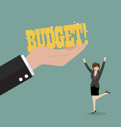 Big hand give a budget to business woman vector