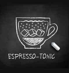 Black and white sketch of espresso tonic coffee vector
