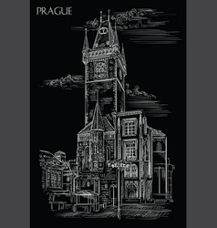 Black hand drawing prague 6 vector