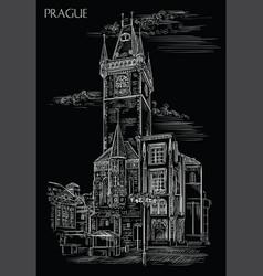 black hand drawing prague vector image