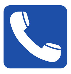 blue white info sign - old telephone handset icon vector image