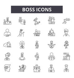boss line icons signs set outline vector image