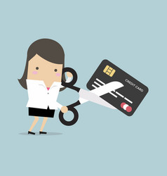 businesswoman cutting credit card vector image