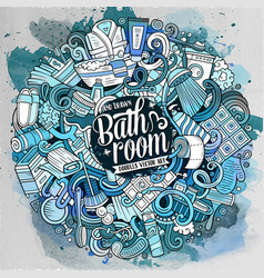 Cartoon cute doodles bathroom vector