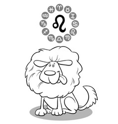 cartoon dog as leo zodiac sign vector image