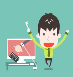 Catch a cyber thief cartoon business vector image
