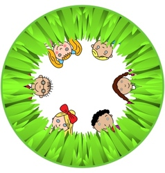 Children And Grass vector image