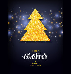 christmas tree with glitter fill background vector image