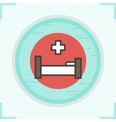 Clinic bed icon vector