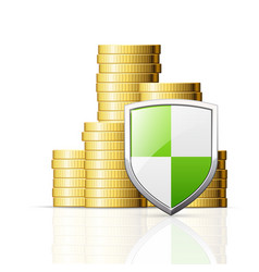 coins stack and shield vector image