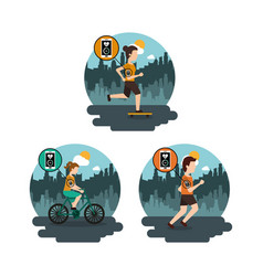 collection people sport healthy lifestyle in the vector image