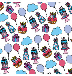 Color happy birthday party decoration background vector