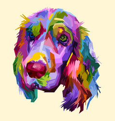 colorful cocker spaniel dog isolated on pop art vector image