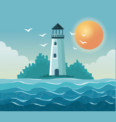 Colorful poster seaside with lighthouse in coast vector