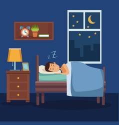 colorful scene man sleep with blanket in bedroom vector image vector image