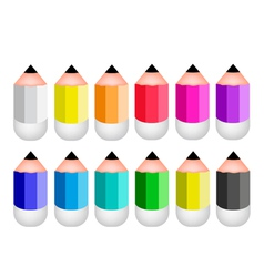 Colorful Sharpened Pencil Icons vector image