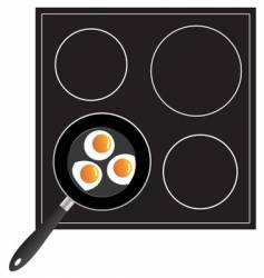 Cooking eggs on the pan vector