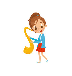cute girl playing saxophone talented little vector image