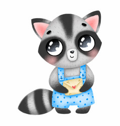 Cute little raccoon in blue overalls with a letter vector