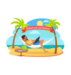 distant work and freelance man on hammock vector image