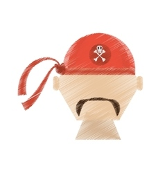 Drawing face pirate red bandanna corsair bones vector