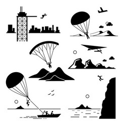 extreme sports - base jumping parachuting vector image