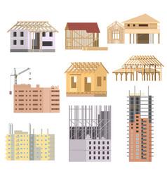 Flat Building under construction Building vector