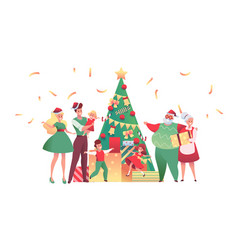 flat family near christmas tree together vector image