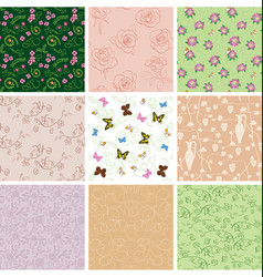 floral backgrounds with flowers and butterflies vector image