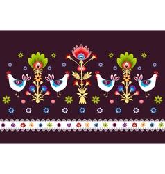 Folk Pattern With Birds - Dark vector