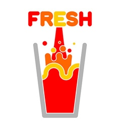 Fresh juice glass Squirting juice vector