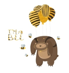Funny bear flying on a balloon vector image