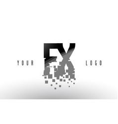 Fx f x pixel letter logo with digital shattered vector