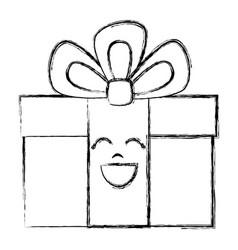 Gift box present kawaii character vector