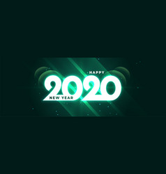 glowing happy new year 2020 shiny banner design vector image