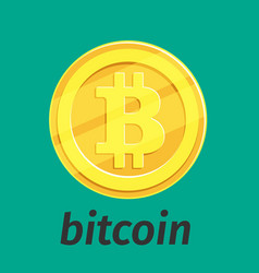 Golden coin with bitcoin sign vector