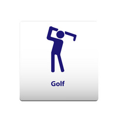 golf sport symbol stickman solid icon vector image
