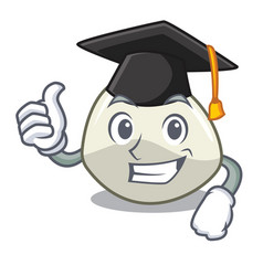 Graduation character cartoon fresh mozzarella vector