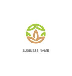 green leaf lotus flower organic logo vector image