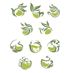 Green tea dish and cup icons set vector