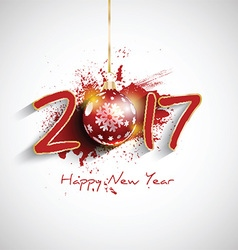 grunge happy new year bauble background 1510 vector image