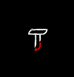 Grunge white red black alphabet letter t logo vector