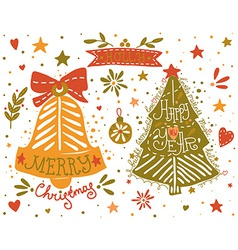 Hand drawn Christmas and New Year elements set vector image