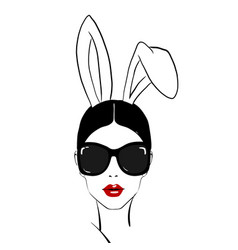 happy easter chic girl woman face with red vector image